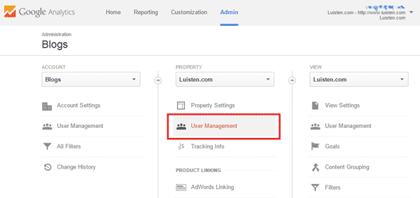 Google Analytics - User Management on a Property