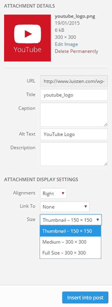 Image attachment details in WordPress