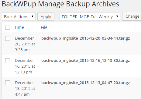 The list of recent backups for a corresponding job.