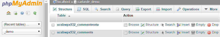 This is what the PhpMyAdmin interface should look like.